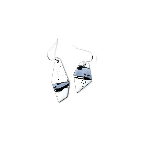 Grey Accent Splash! Angular Mismatched Earrings
