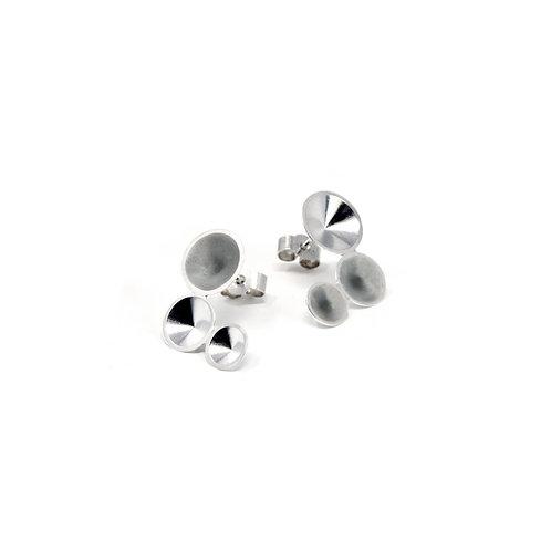 Grey Enamel Silver Tri-Cone Studs