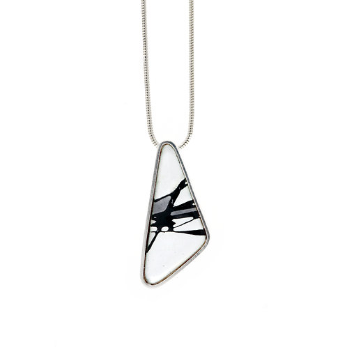 Grey Accent Splash! Shield Pendant Necklace
