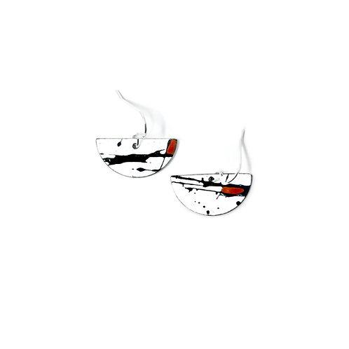 Red Accent Splash! Semi-Circle Earrings