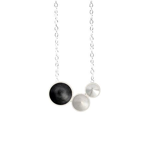Oxidised Silver Tri-cone Necklace
