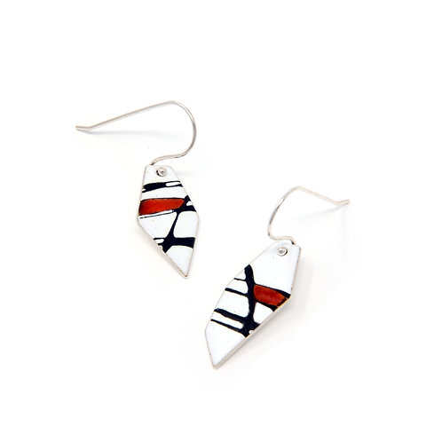 Red Accent Splash! Silver Freeform Earrings