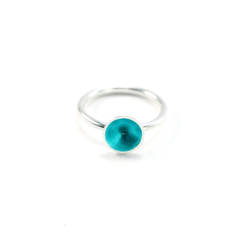 Turquoise Enamel Silver Cone Ring