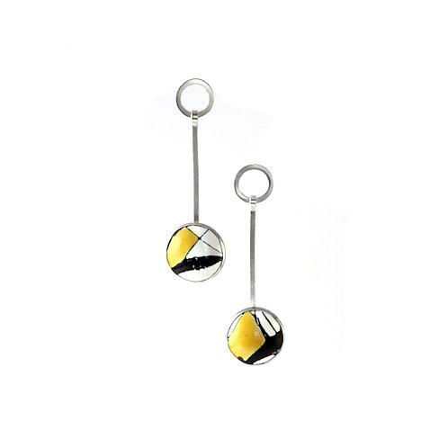 Yellow Splash! Long Earrings with Circles