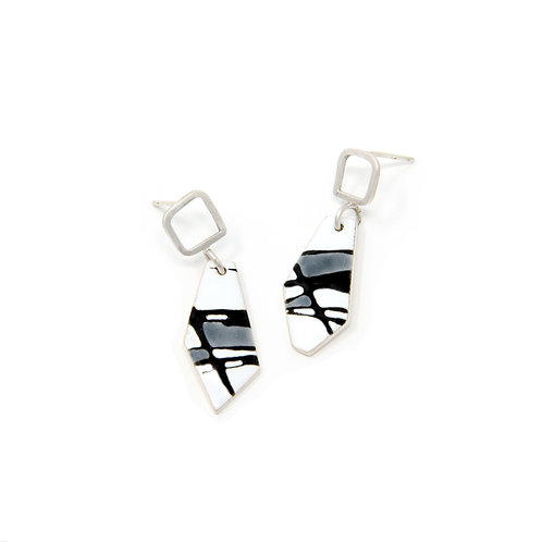 Grey Accent Splash! Silver Freeform Earrings