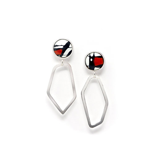 Red Accent Splash! Earrings with Silver Freeform Drops