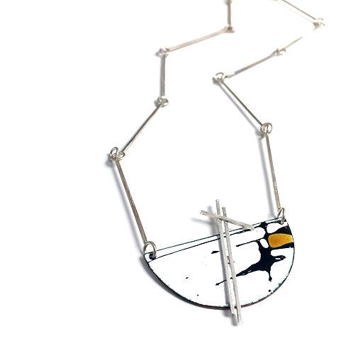 Yellow Accent Splash! Semi-Circle Pendant with Handmade Chain