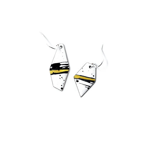 Yellow Accent Splash! Angular Mismatched Earrings