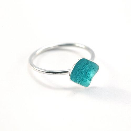 Turquoise Enamel Square Silver Ring