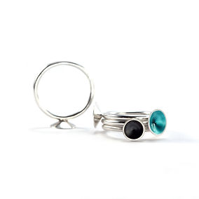 Enamelled Silver Collection, Cone Ring, Geometric Ring,