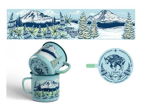 Mt Rainier enamel mug