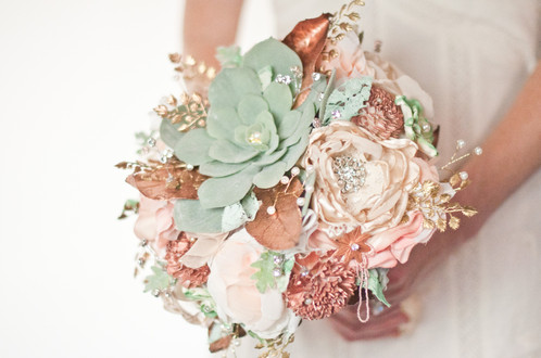 Peach And Rose Gold Succulent Brooch Bouquet Cultivar Fabric Bouquets Wedding Accessories