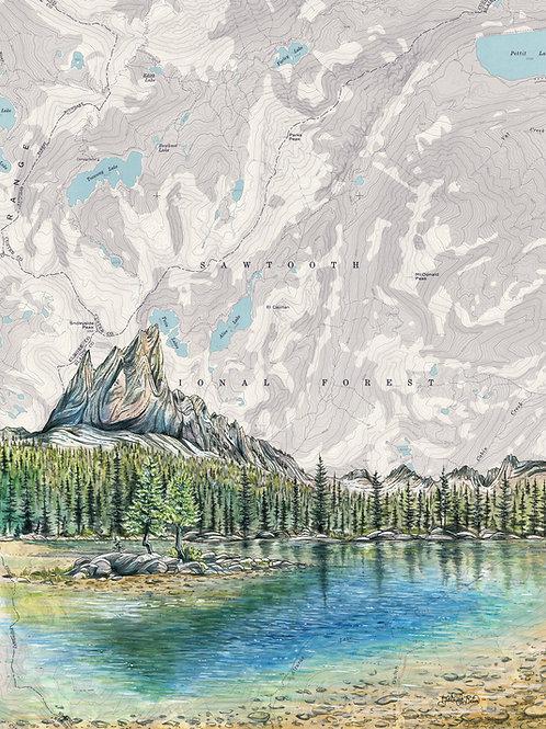 Alice Lake, Sawtooth Mountains Print