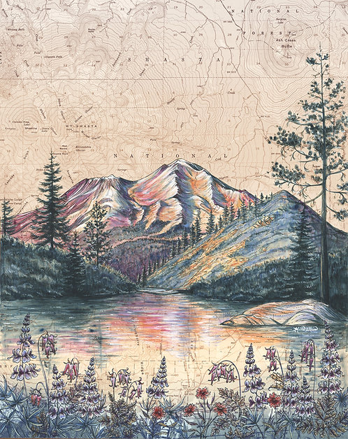 Mt Shasta From Heart Lake Original Painting