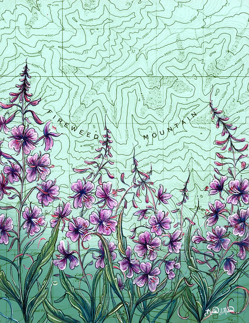 Fireweed Mountain Original Painting