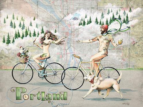 Portland Naked Bike Ride Print