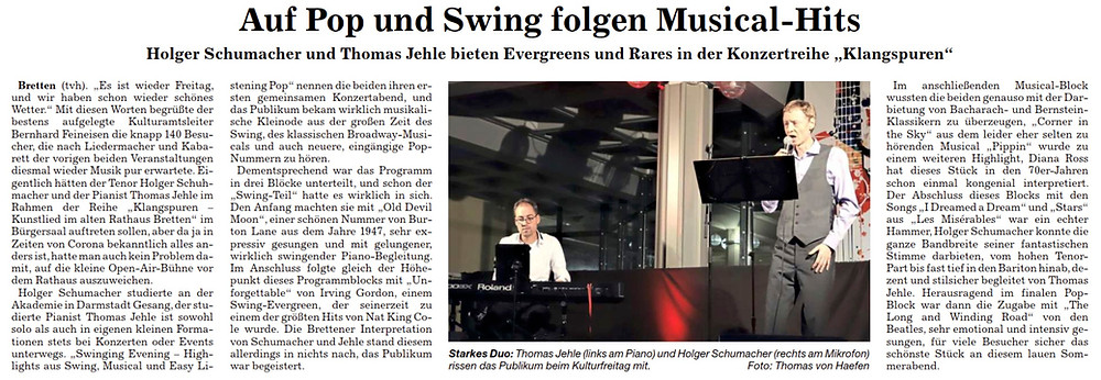 Konzert-Rezension KulturFreitag in Bretten, Pianist/Jazzpianist