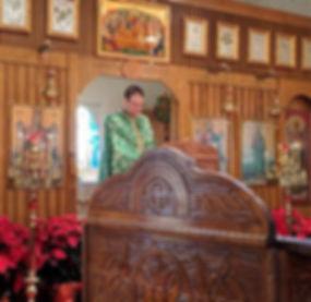 Christmas church interior w choir stand