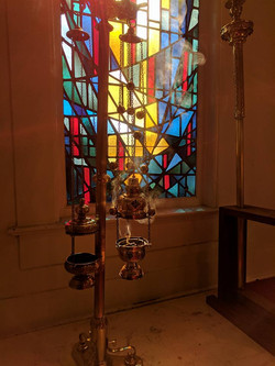 Incense and Stained Glass Window