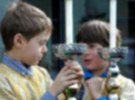 Altar boys talking, closeup, outdoors_ed