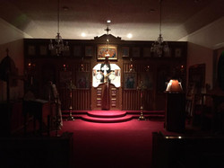 Church Interior for a Nighttime Service during Lent