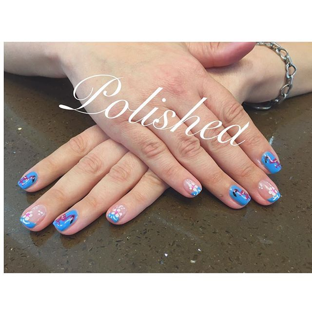 Florals and flamingos 😻😻 #nailswag #polishednailsalon #polishedinburbank #polished #polishedgirls