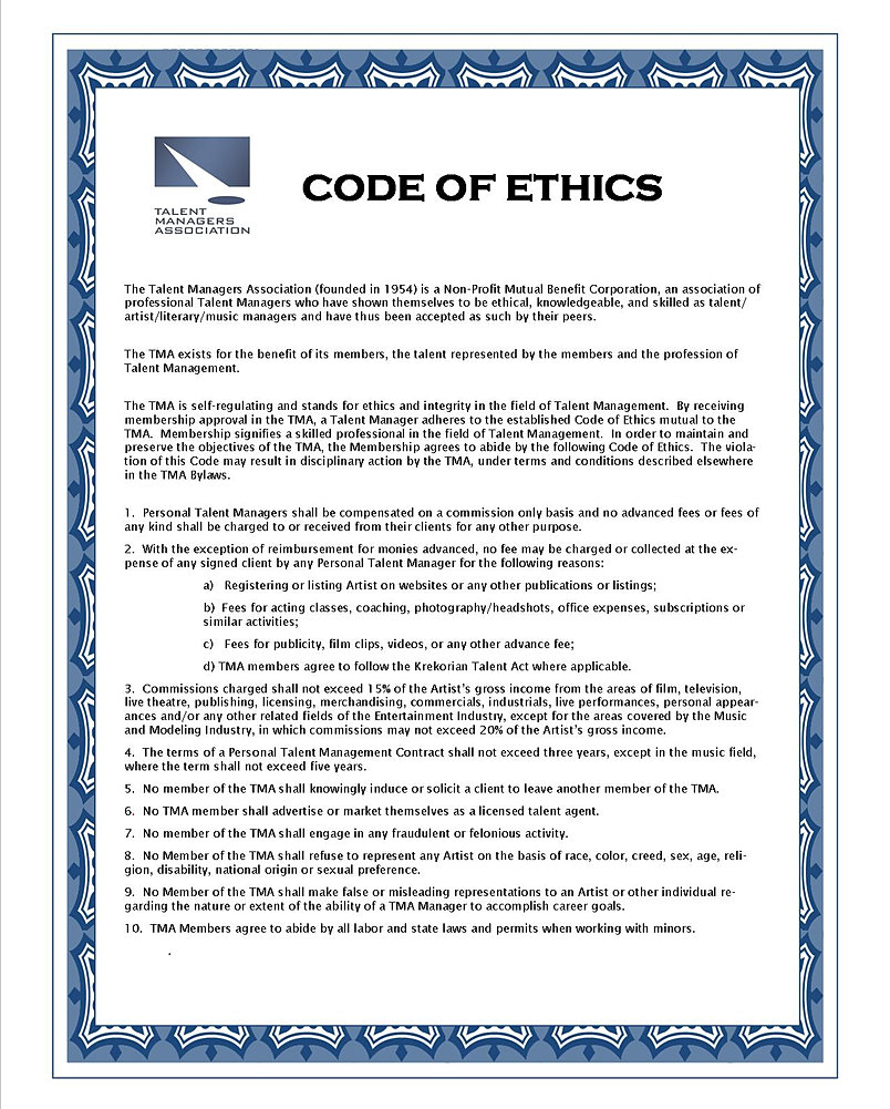 talent-managers | TMA CODE OF ETHICS