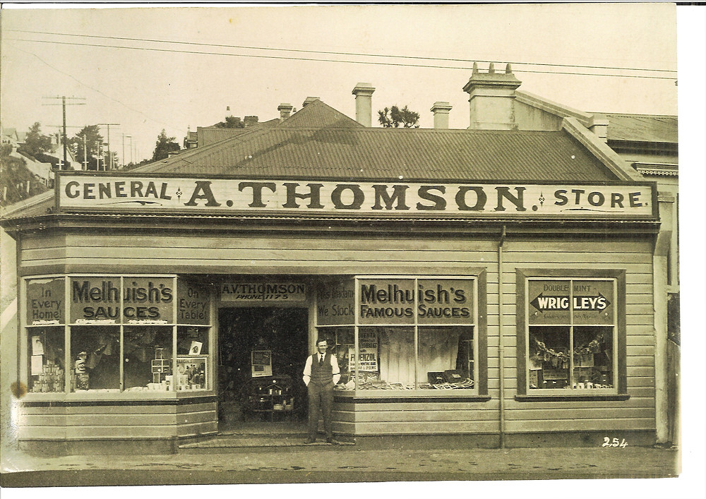 Historic photograph of Thomson General Store on corner of Blacks Rd and North Rd, North East Valley, Dunedin, NZ