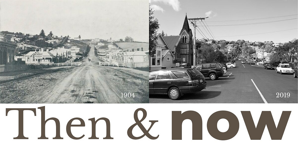 Then and now of Chambers St, North East Valley, Dunedin, pictured in 1904 in the Otago Witness and in 2019 in the Valley Voice