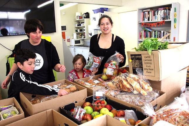 Sorting food into boxes for our FoodShar