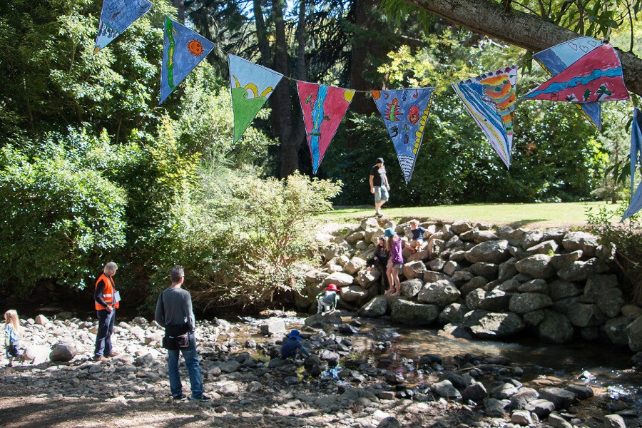 People enjoy Lindsay Creek during the Valley Project's Creekfest event at Chingford Park, North East Valley, Dunedin