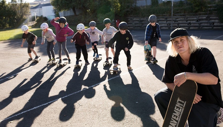 Otago Polytechnic Bachelor of Applied Science student Jimmy Hay started a community skateboard programme at Opoho School