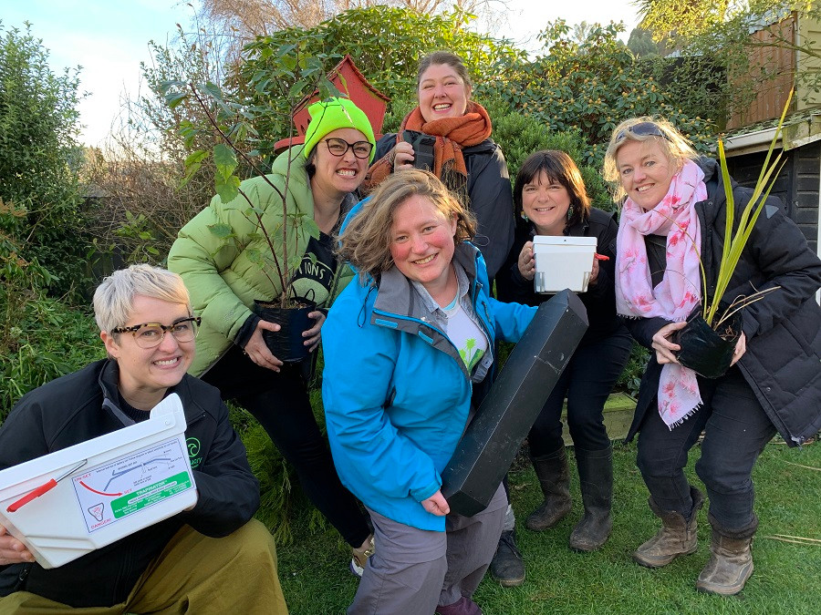 Some of the Open VUE/City Sanctuary team channeling their desire for action in backyards of the Valley. Left to right: Kimberly Collins (City Sanctuary), Marama Smyth, Tess Trotter, Catherine Hosted (City Sanctuary), Eleanor Linscott and Clare Cross (Centre).