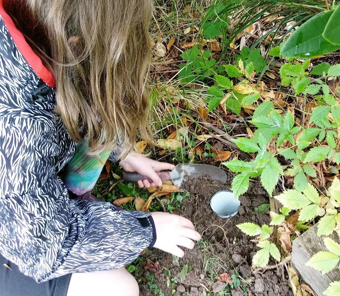 Setting up a pitfall trap to collect invertebrates in a North East Valley backyard