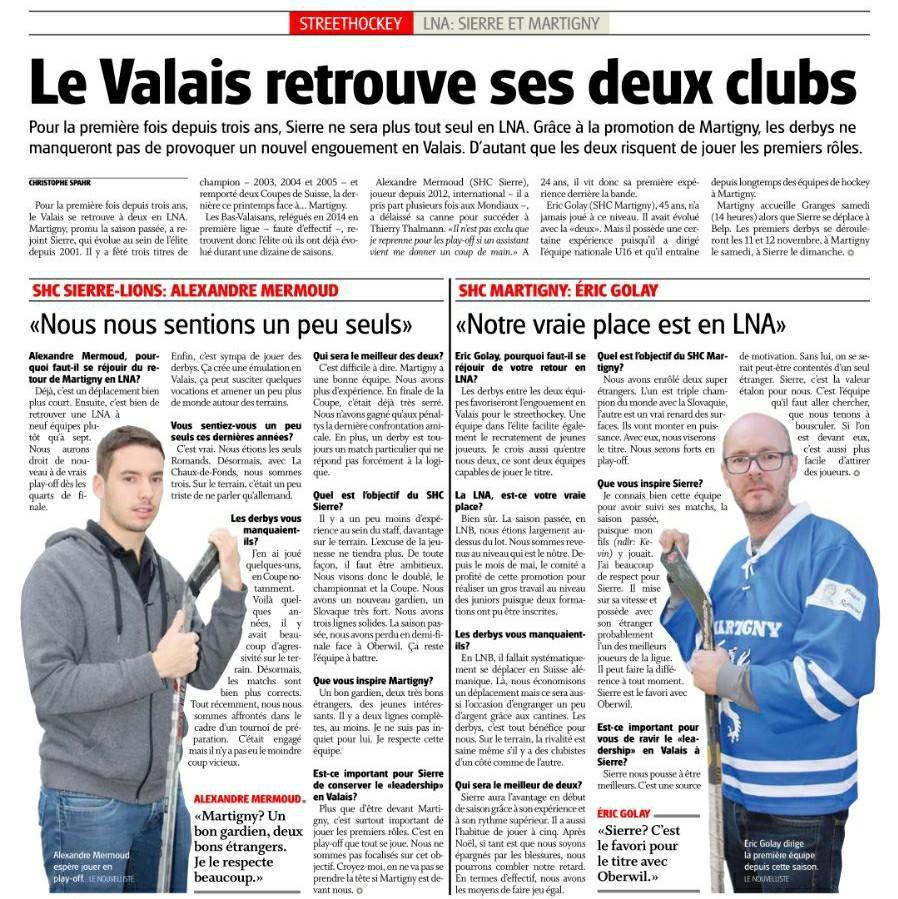 Le Valais retrouve ses deux clubs