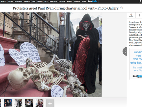 Newsok: Protesters & the Grim Reaper from #RevolutionIsSexy Greet Paul Ryan during charter schoo