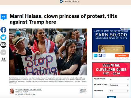 Marni Halasa, clown princess of protest, tilts against Trump here