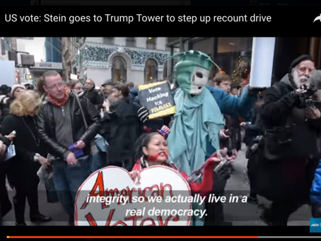USA Today covers Jill Stein Protest in front of Trump Tower, covering 'Vote Hacking for Dummies&