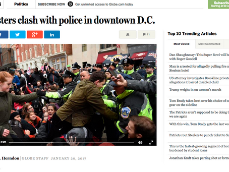 Boston Globe: Protesters clash with police in downtown DC