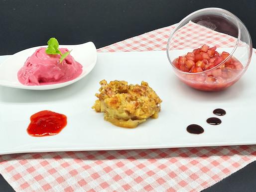 Variationen vom Rhabarber: Eis, Kompott und Muffin
