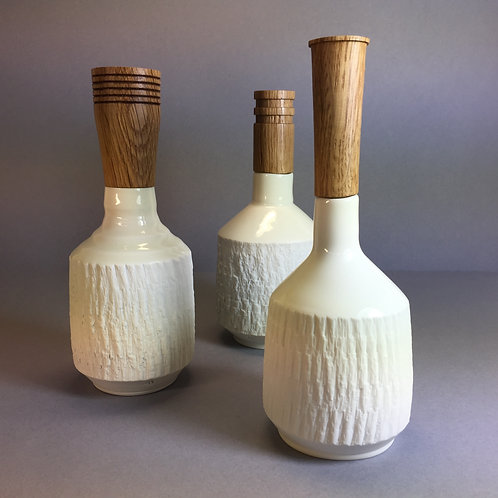 Set of 3 Porcelain Bottles with Oak tops