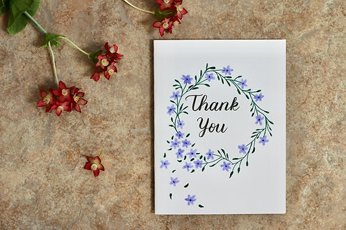 Thank You Floral Wreath, A6 Size
