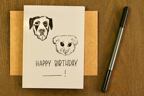 Happy Birthday, Hand Drawn Pet Greeting, Blank Card, A6