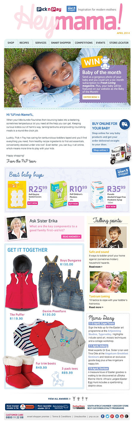 Pick n Pay Baby April newsletter