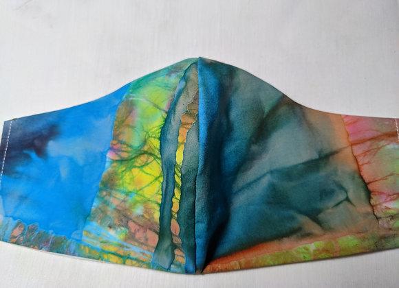 rainbow tye dye print face mask