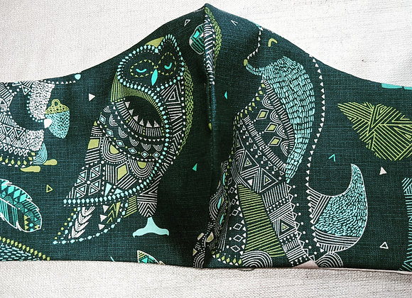 face mask woodland animals teal white pattern on green