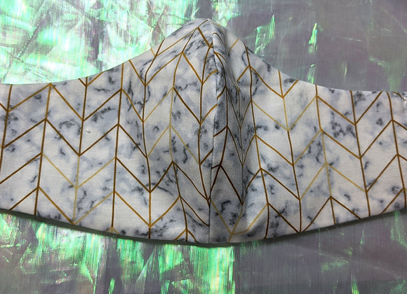 face mask gold chevron on white marble print front