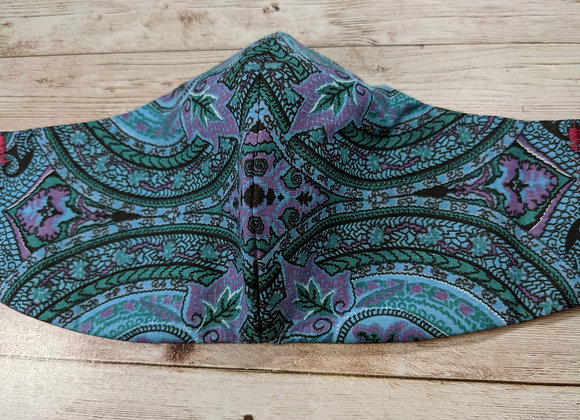 blue paisley mask front view