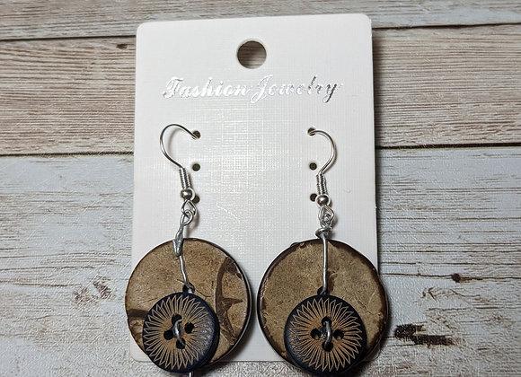 Glass and wood earrings