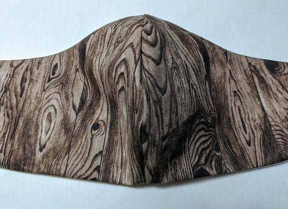 Brown wood print face mask